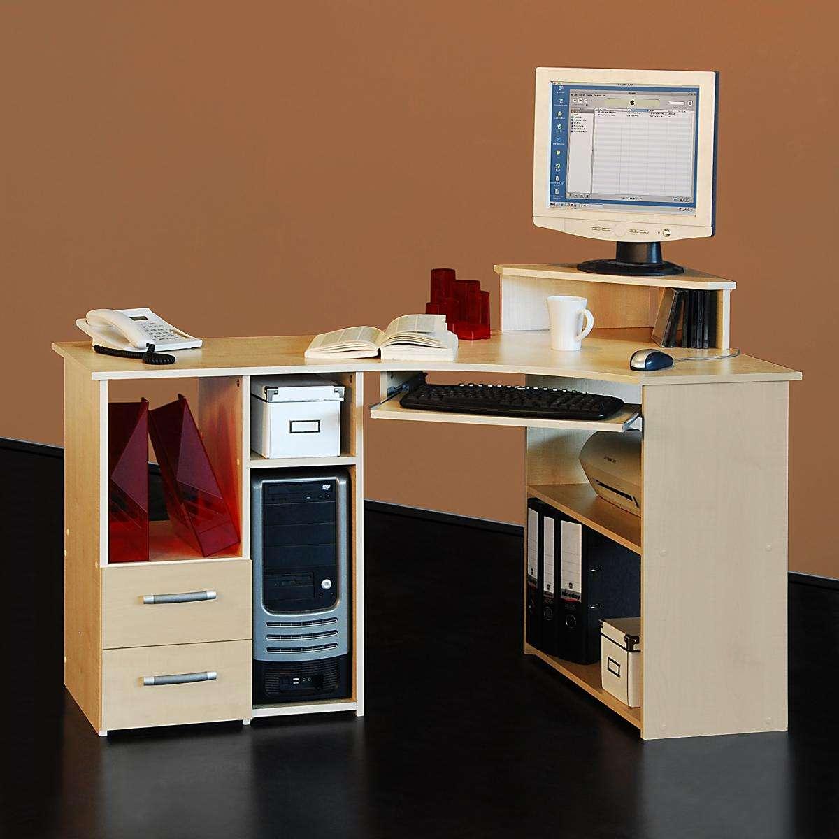 eck schreibtisch ahorn eckschreibtisch computertisch eckl sung tisch g nsitger ebay. Black Bedroom Furniture Sets. Home Design Ideas